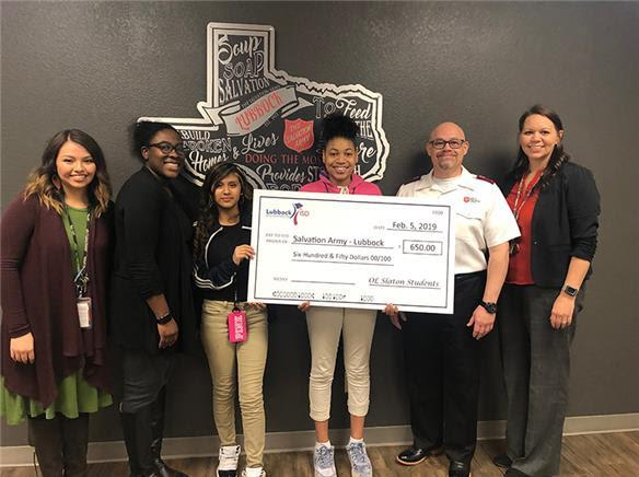 O.L. Slaton MS students donate funds to The Salvation Army
